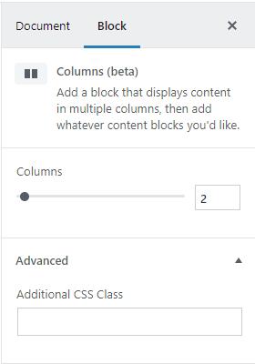 Column settings in Gutenberg | HollyPryce.com