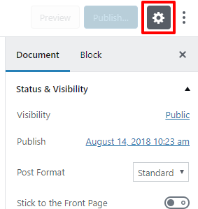 Settings panel toggle button in Gutenberg | HollyPryce.com