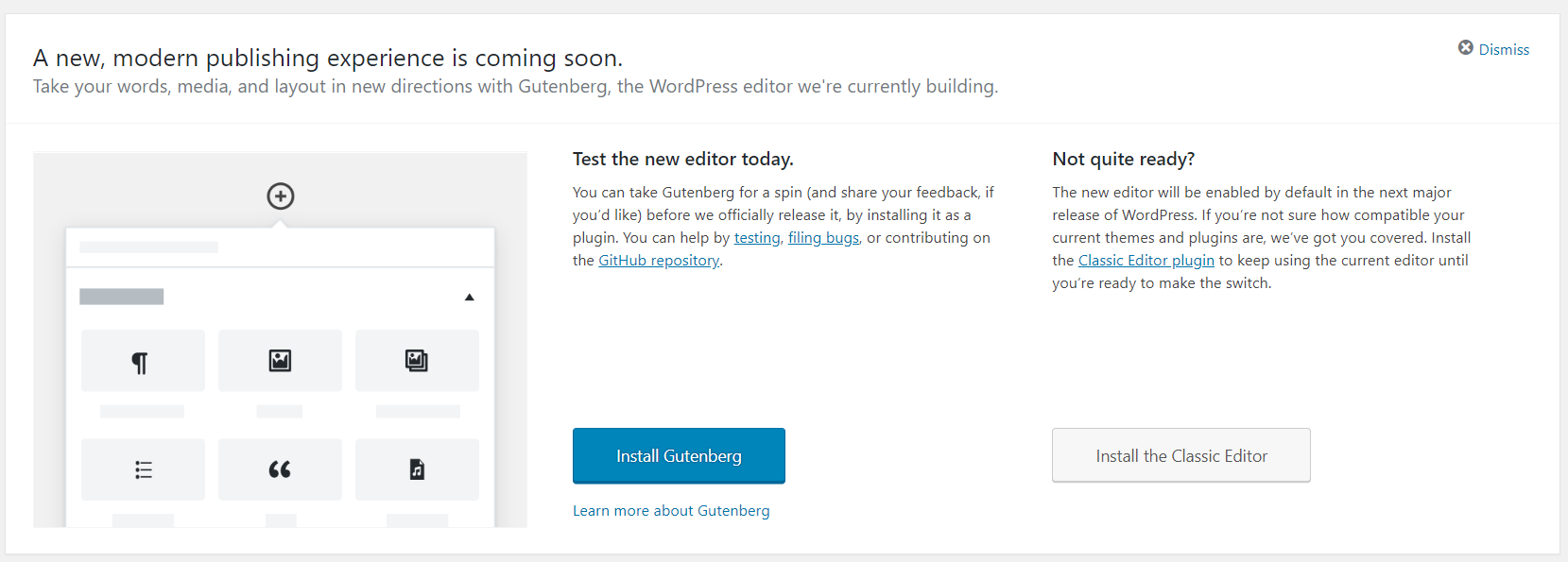 Gutenberg notification in WordPress version 4.9.8 | HollyPryce.com