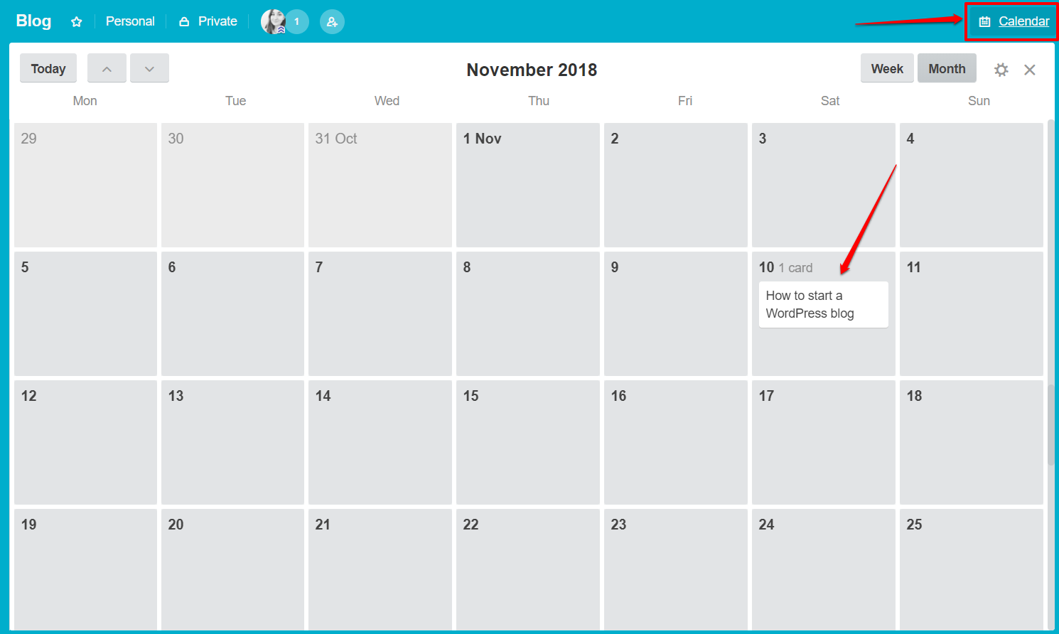 Calendar in Trello | HollyPryce.com