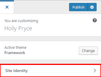 Site Identity tab in the WordPress Customiser | HollyPryce.com