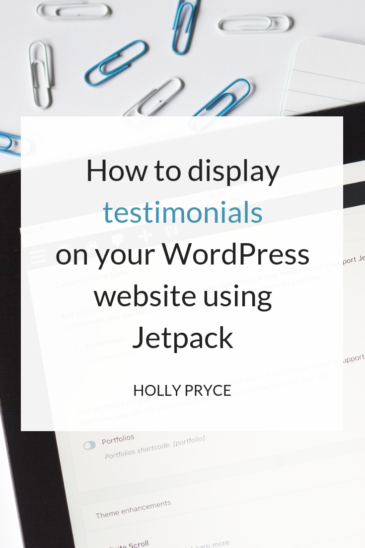 How to display testimonials on your WordPress website using Jetpack | HollyPryce.com