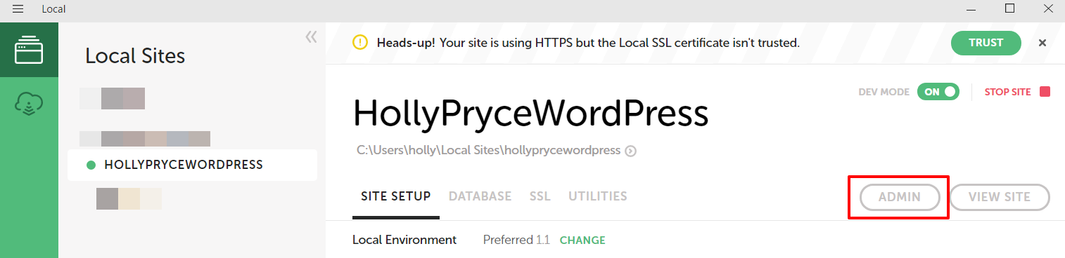 View WordPress admin area in Local by Flywheel | HollyPryce.com