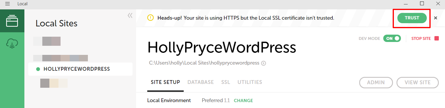 Trust SSL certificate in Local by Flywheel | HollyPryce.com