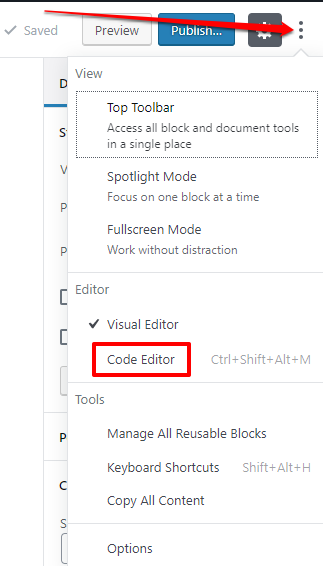 How to view the code editor in WordPress