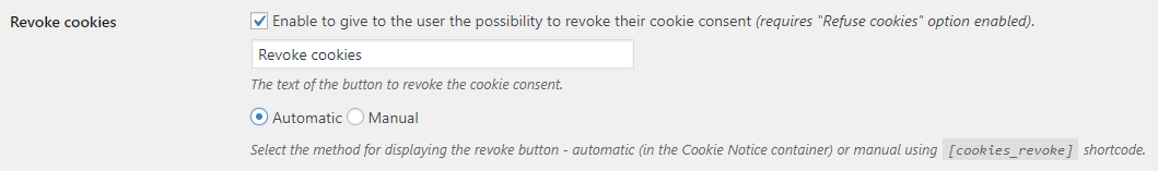 Cookie Notice for GDPR plugin settings