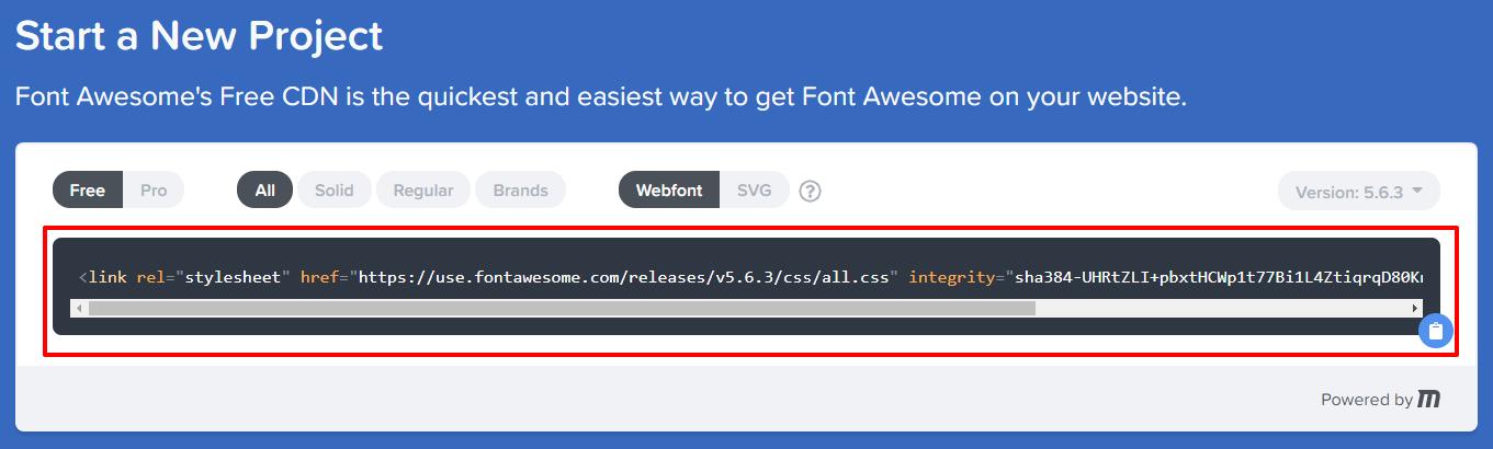 Font Awesome stylesheet code