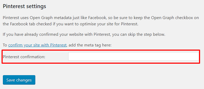 Pinterest settings on Yoast SEO Social settings page in WordPress