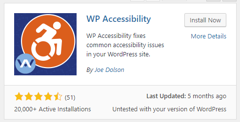Screenshot showing the WP Accessibility plugin for WordPress
