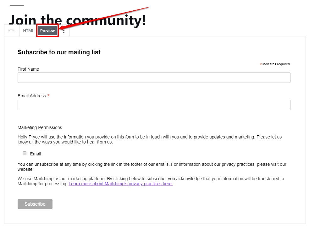 Custom HTML block in the WordPress editor