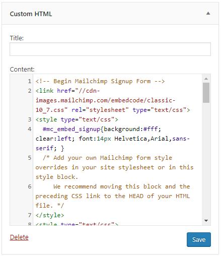 Custom HTML widget in WordPress