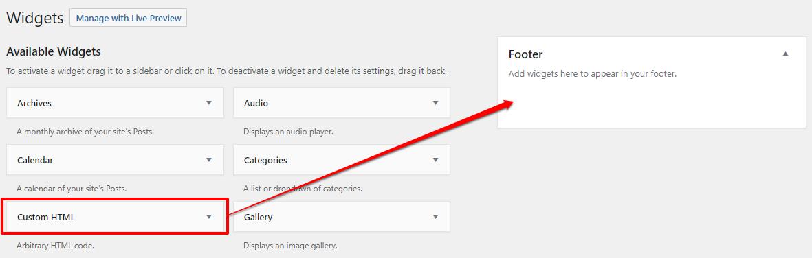 How to add the Custom HTML widget to a widget area in WordPress