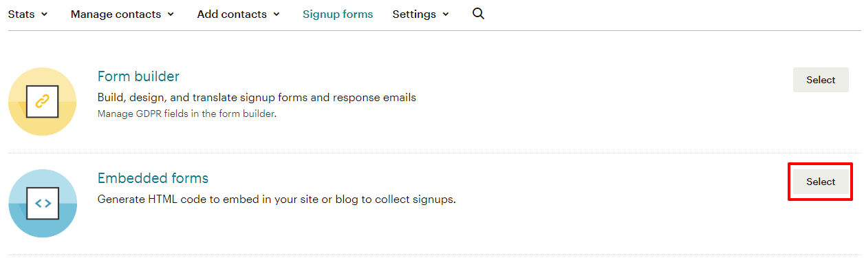 How to get your signup form embed code in Mailchimp