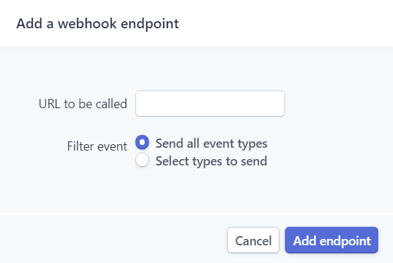 Add endpoint in Stripe