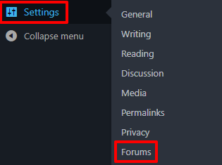 How to access the bbPress forum settings