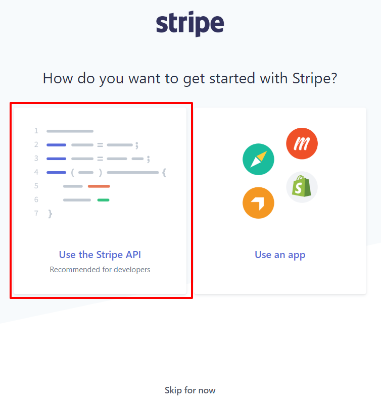 Stripe registration page