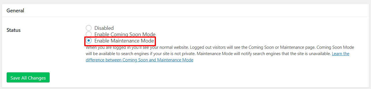 How to enable maintenance mode with the Coming Soon Page & Maintenance Mode plugin