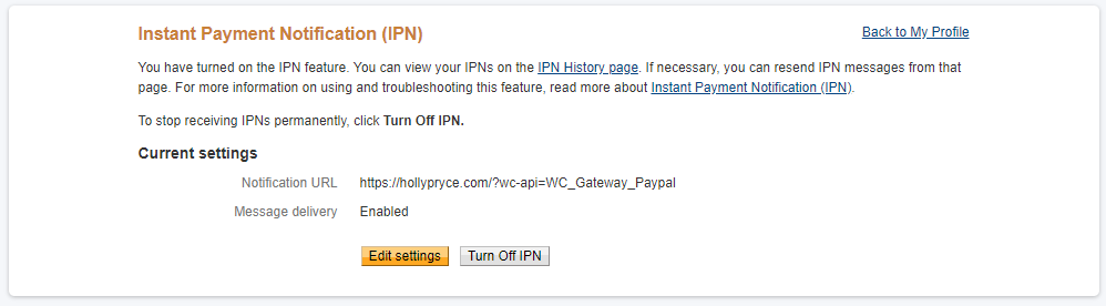 PayPal Instant Payment Notifications setup