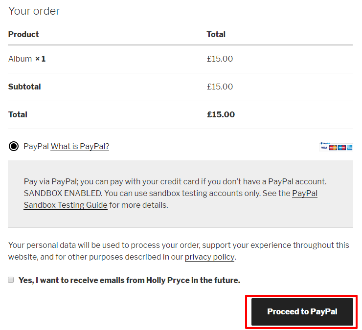 Test payment using PayPal in WooCommerce