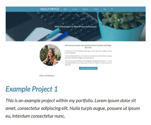 Example portfolio project