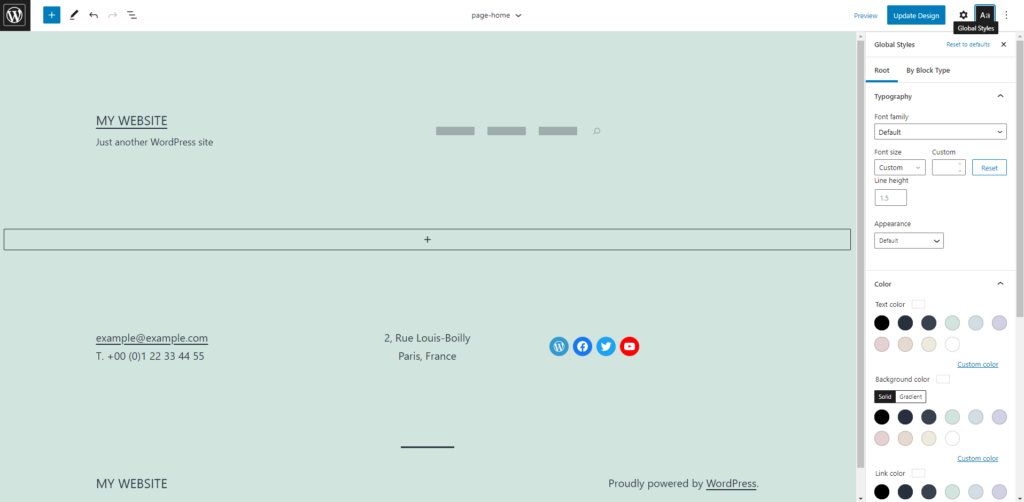 A screenshot of the full site editor in WordPress.